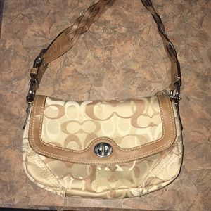Coach bag brown and tan braided strap